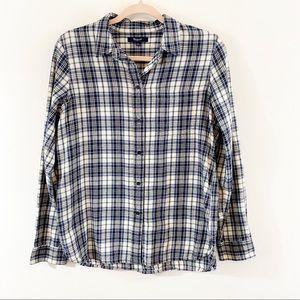 Madewell Flannel Plaid Button Down Shirt Sz L
